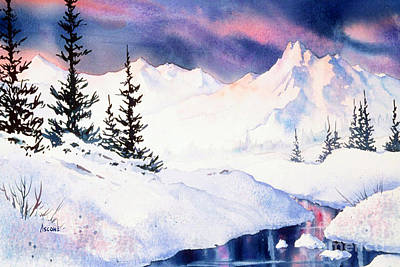 Art Print featuring the painting Matanuska Sunset Impression by Teresa Ascone