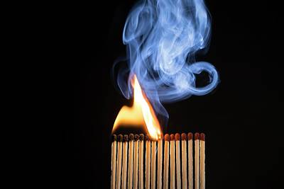 Combustion Photograph - Matches Igniting by Daniel Sambraus