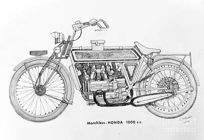 Final Four Drawing - Matchless - Honda 1000 C.c. by Stephen Brooks