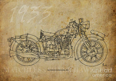 Bike Drawing - Matchless Silver Hawk 1933 by Pablo Franchi