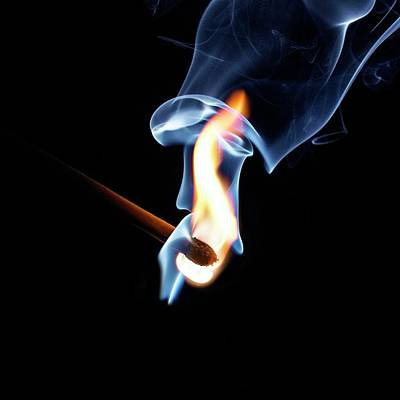 Colored Smoke Photograph - Matchstick On Fire by Science Photo Library