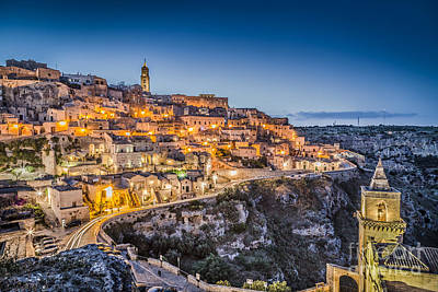 City Photograph - Matera Blue Hour by JR Photography