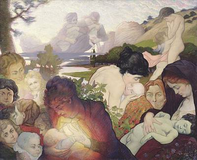 Breastfeeding Painting - Maternity by Charles Maurin