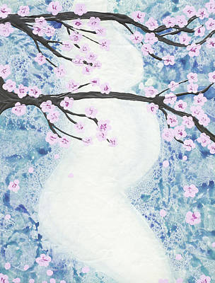 Baby Bump Painting - Maternity - Cherry Tree by April Kasper