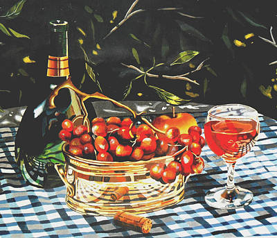 Glass Of Wine Painting - Mateus Rose In Dappled Light by Jeni Hodgson-Craig