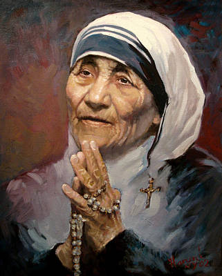 Portrait Painting - Mather Teresa by Ylli Haruni
