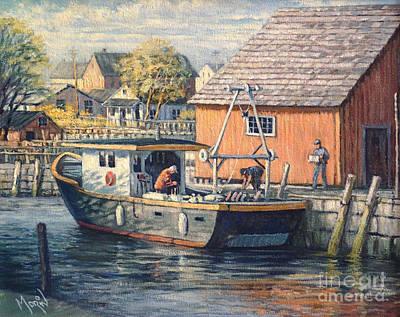 Canadiens Painting - Matin Sur Le Quai  by Pierre Morin