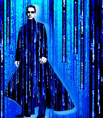 Matrix Code Painting - Matrix Neo Keanu Reeves 2 by Tony Rubino