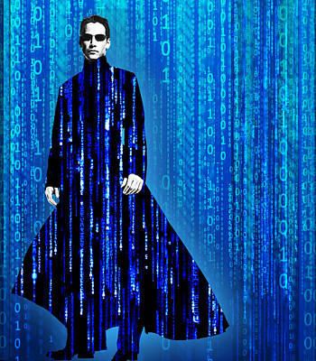Matrix Code Painting - Matrix Neo Keanu Reeves by Tony Rubino