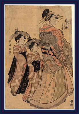 1753 Drawing - Matsubaya Uchi Somenosuke by Kitagawa, Utamaro (1753-1806), Japanese