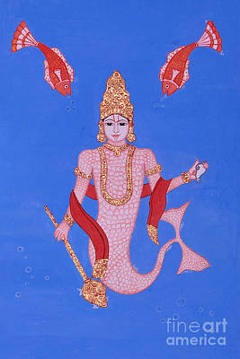 Incarnation Of Lord Vishnu Painting - Matsyamurti by Pratyasha Nithin