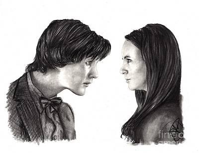 Doctor Who Drawing - Matt Smith And Karen Gillan by Rosalinda Markle