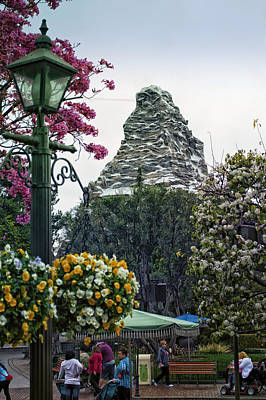 Bobsled Photograph - Matterhorn Mountain With Flowers At Disneyland by Thomas Woolworth