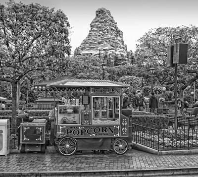 Bobsled Photograph - Matterhorn Mountain With Hot Popcorn At Disneyland Bw by Thomas Woolworth