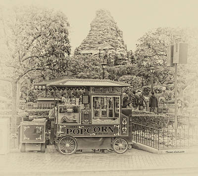 Bobsled Photograph - Matterhorn Mountain With Hot Popcorn At Disneyland Heirloom by Thomas Woolworth