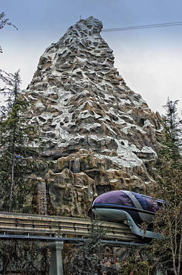 Bobsled Photograph - Matterhorn Mountain With Monorail At Disneyland by Thomas Woolworth
