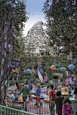 Bobsled Photograph - Matterhorn Mountain With Tea Cups At Disneyland by Thomas Woolworth