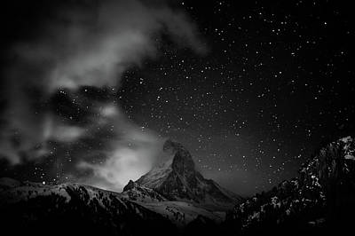 Photograph - Matterhorn With Stars In Black And White by Coolbiere Photograph