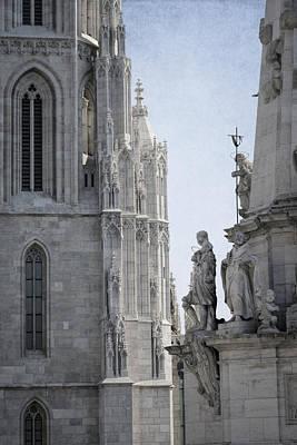 Buda Photograph - Matthias Church And Holy Trinity Column by Joan Carroll