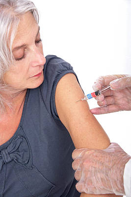 Jab Photograph - Mature Woman Receiving Vaccination by Lea Paterson