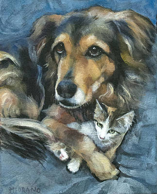 Disc Painting - Maty And Lennox by Mary Medrano
