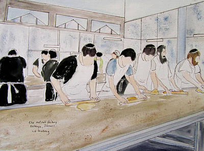 Painting - Matzah Factory At Kiryat Sanz by Linda Feinberg