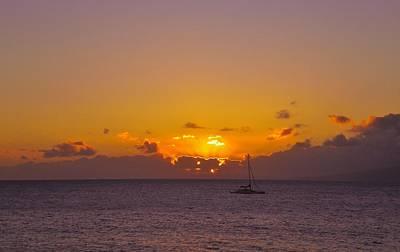 Maui Sailboat Sunset Art Print