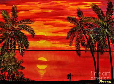 Waterscape Painting - Maui Sunset by Teresa Wegrzyn