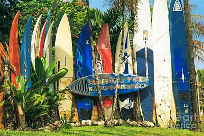 Maui Surfboard Fence - Peahi Hawaii Art Print by Sharon Mau