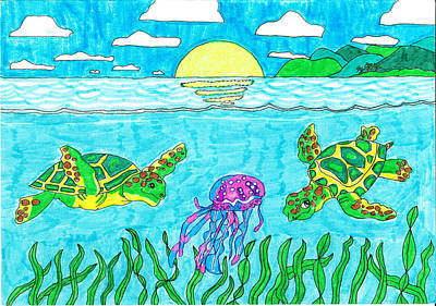 Under The Ocean Drawing - Maui Turtles With Jellyfish by Jay or Jaz Kelber