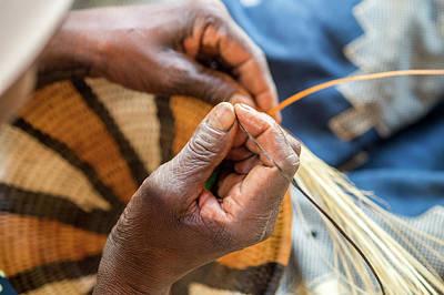 Hand-weaving Photograph - Maun, Botswana, Africa- Womans Hands by Edwin Remsberg