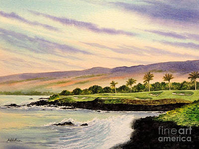 Recently Sold - Sports Paintings - Mauna Kea Golf Course Hawaii Hole 3 by Bill Holkham