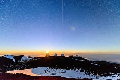 Keck Photograph - Mauna Kea Moonset 1 by Jason Chu