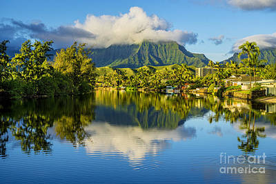 Haiku Wall Art - Photograph - Maunawili Stream And The Koolau Mountains Cloudy by Aloha Art
