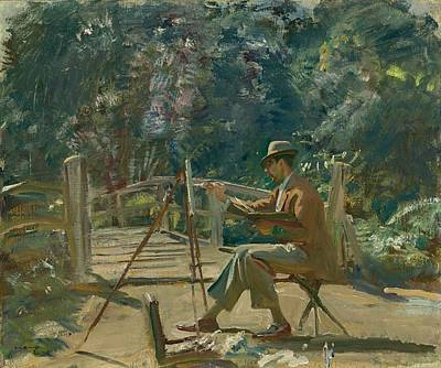 Maurice Codner Sketching By The Bridge At Wiston Art Print