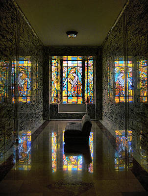 Leadlight Photograph - Mausoleum Stained Glass 03 by Thomas Woolworth