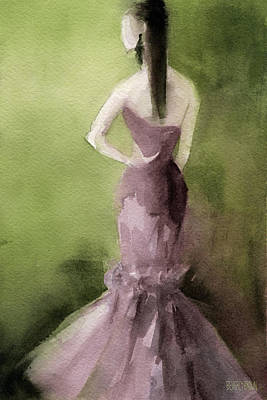 Abstract Fashion Designer Art Painting - Mauve Evening Gown Fashion Illustration Art Print by Beverly Brown Prints