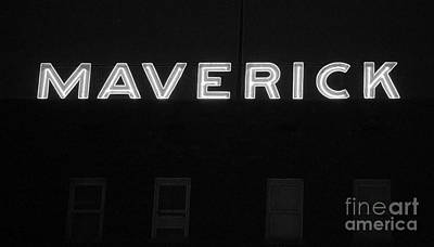 Digital Art - Maverick Building Crop Vibrant Neon Sign Downtown San Antonio Texas Bw Accented Edges Digital Art by Shawn O'Brien