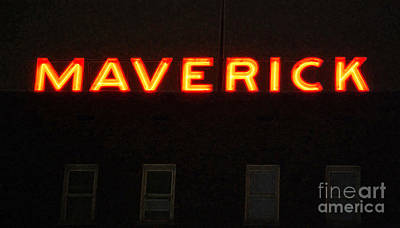 Digital Art - Maverick Building Crop Vibrant Red Neon Sign Downtown San Antonio Texas Accented Edges Digital Art by Shawn O'Brien