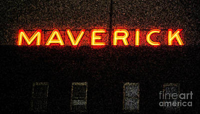 Digital Art - Maverick Building Crop Vibrant Red Neon Sign Downtown San Antonio Texas Fresco Digital Art by Shawn O'Brien