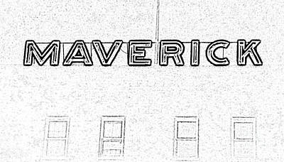 Digital Art - Maverick Building Vibrant Neon Sign Downtown San Antonio Texas Black And White Digital Art by Shawn O'Brien