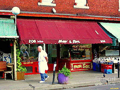 Painting - Max And Son Meat Market 206 Baldwin Kensington Market Famous Butcher Shop Toronto Cityscene Cspandau by Carole Spandau