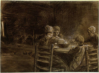 Black Top Drawing - Max Liebermann, German 1847-1935, East Frisian Peasants by Litz Collection