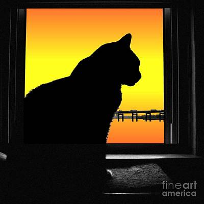 Digital Art - Max Silhouette With Sunset by Dale   Ford