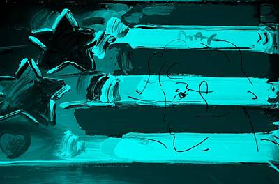 Old Glory Mixed Media - Max Stars And Stripes In Turquois by Rob Hans