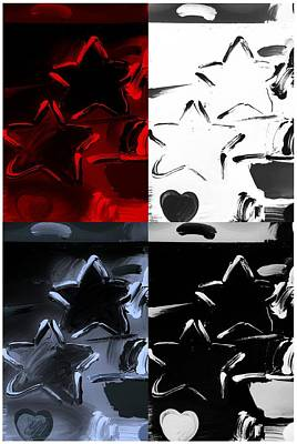 Max Two Stars In Quad Colors Art Print by Rob Hans