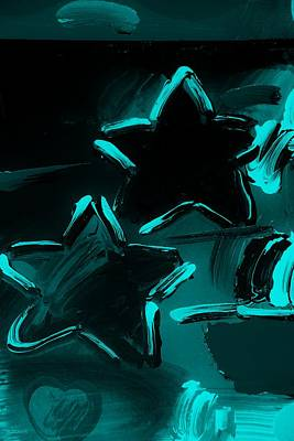 Max Two Stars In Turquois Art Print by Rob Hans
