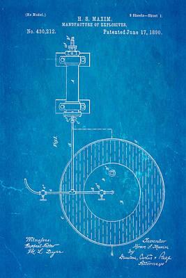 Maxim Explosives Patent Art 1890 Blueprint Print by Ian Monk
