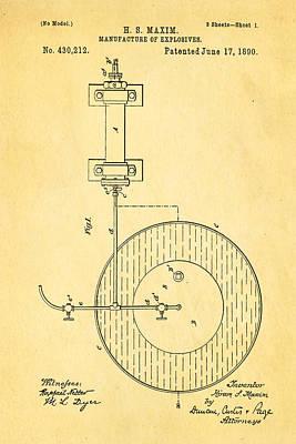 Maxim Explosives Patent Art 1890 Print by Ian Monk