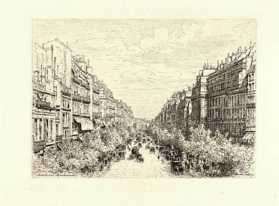 Maxime Lalanne French, 1827 - 1886. Boulevard Montmartre Art Print